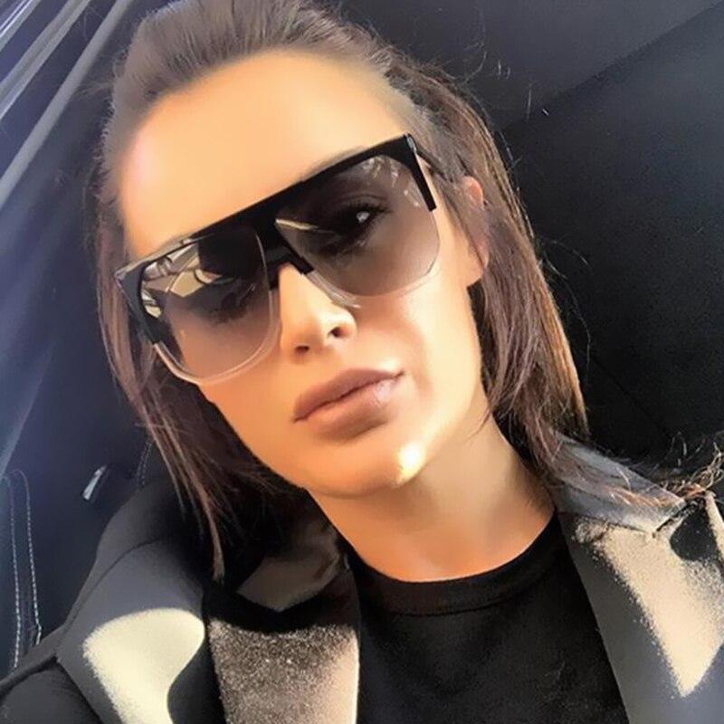 Coodaysuft Oversized Men Women Brand Designer Large Frame Gradient Clear Sunglasses Transparent Shades UV400 Mirror Sun Glasses