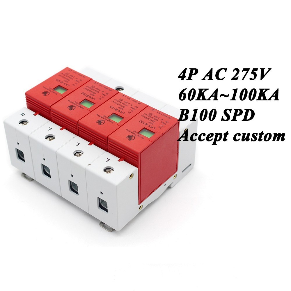 B100-4P 60KA~100KA ~275V AC 3P+N SPD House Surge Protector Protective Low-voltage Arrester Device Lightning protection 420vac spd 40 80ka 4p surge arrester protection device electric house surge protector lightning protection b