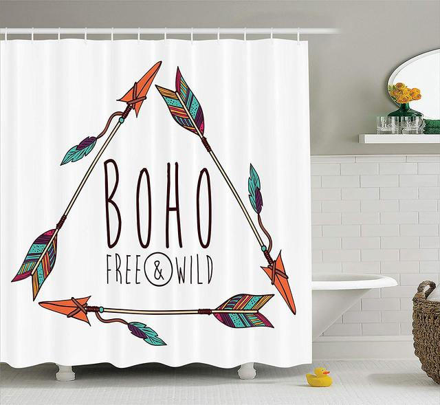 Arrow Decor Shower Curtain 3 Tribal Ancient Ethnic In Geometric Triangles Shape Feathers Boho Chic