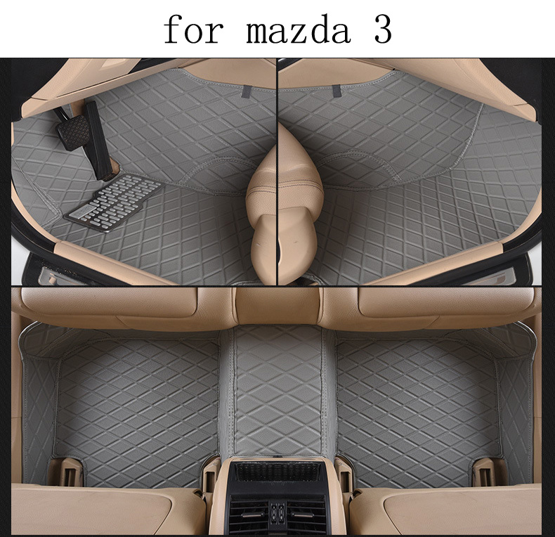 for mazda 3 brand pu leather Wear-resisting customize Car floor mats black grey brown Non-slip waterproof 3D car floor Carpets for peugeot 307 brand pu leather wear resisting car floor mats black grey brown coffee non slip waterproof 3d car floor carpets