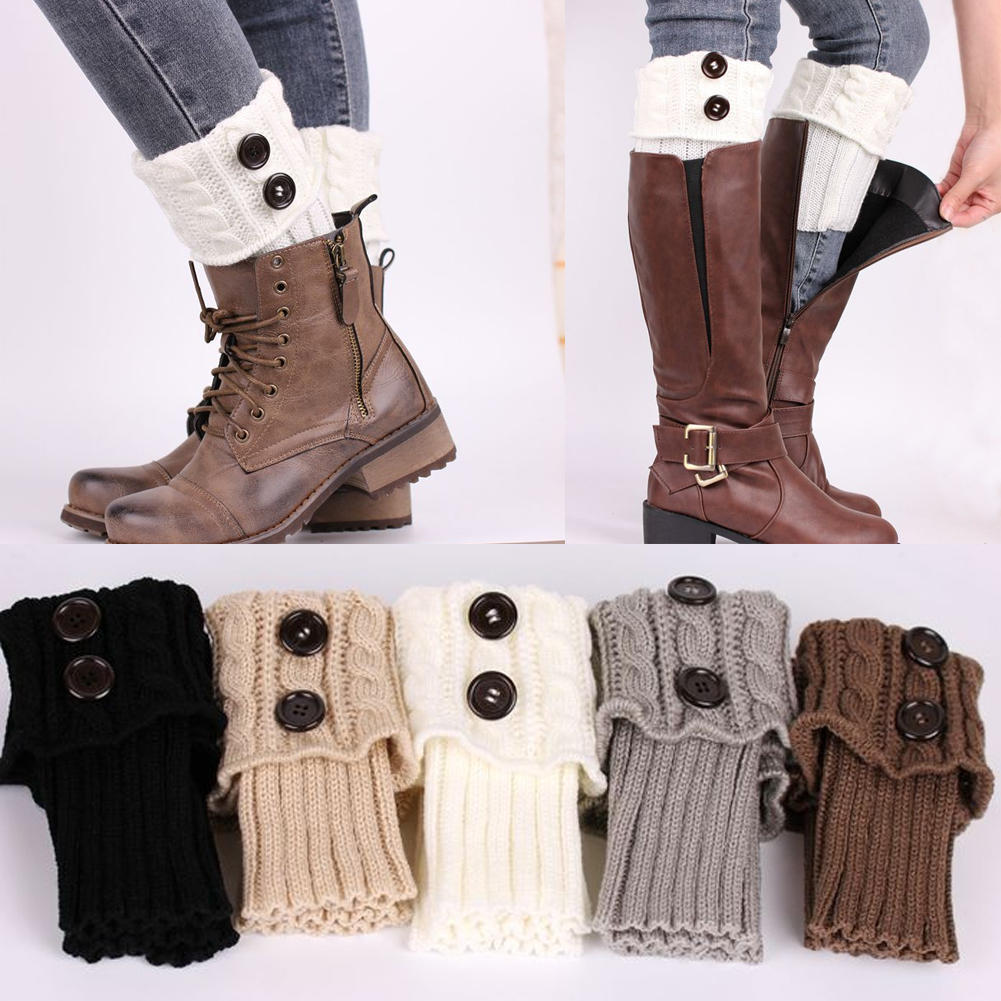 Hot New 2016 Fashion Womens Winter Crochet Knitted Stocking Footless Leg Warmers Boot Thigh High Stockings