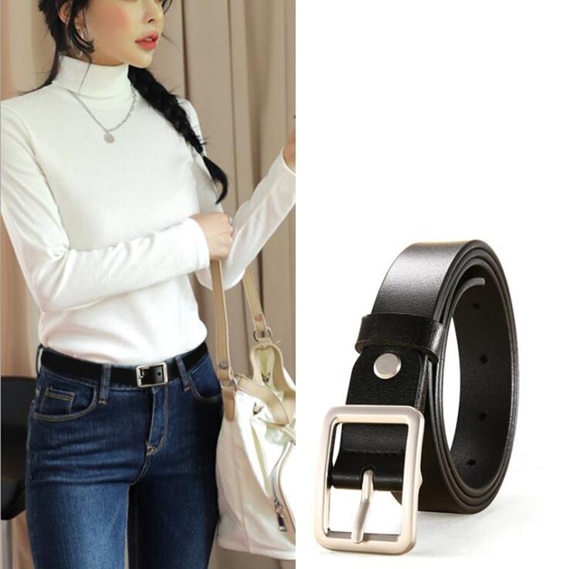 New Designer Fashion Women's Belts Genuine Leather Brand Straps Female Waistband Pin Buckles Fancy Vintage Women Belt 2.2cm