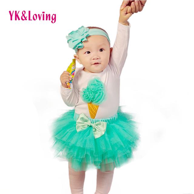 2016 Saias Falda Set Mesh Tutu Faldas Para Niños con Helado Patrón Mono 4 unids Conjunto Tutú Faldas de Las Muchachas de Cumpleaños ropa