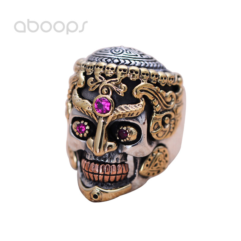 Punk Two Tone 925 Sterling Silver Gold Skull Ring Jewelry Cool Gift for Men Size 8 9 10 11 Free Shipping цена