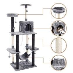 Gato árbol rascador Torre mueble de condominio poste para rascar gato saltarín juguete gatito casa hamaca con bola