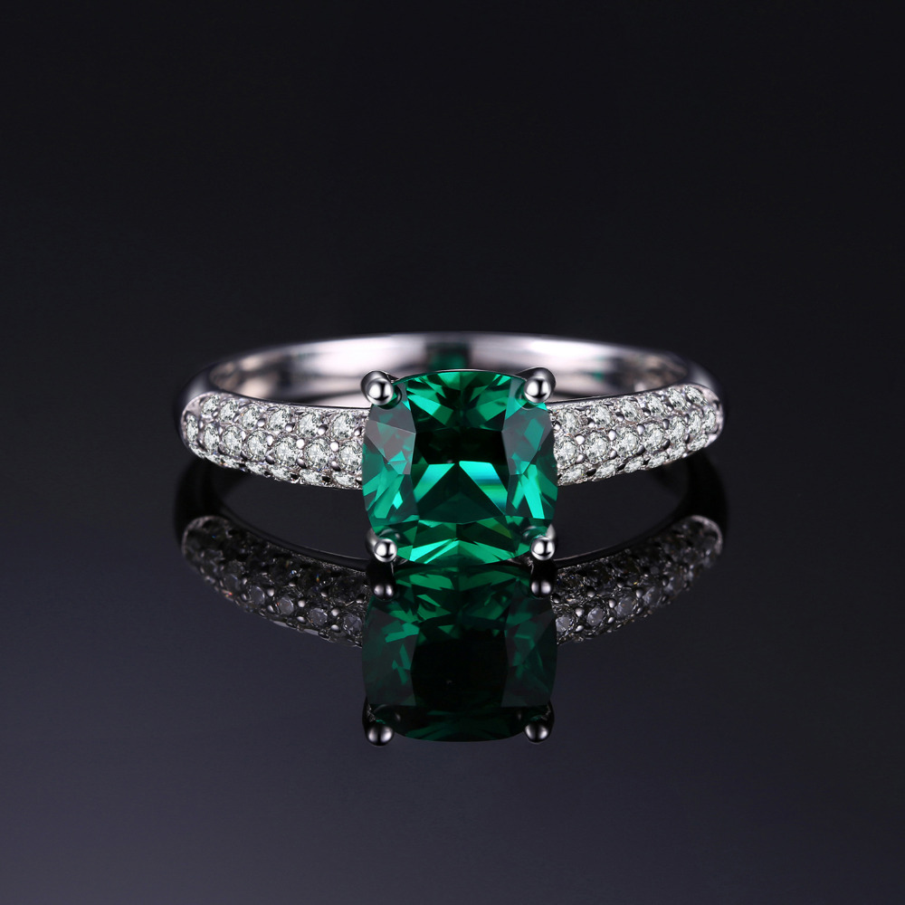 JewelryPalace 1.7 ct Cushion Cut stvorio Emerald Vjenčanje bendova - Fine nakit - Foto 4