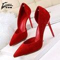 2017 Zapatos de Las Mujeres zapatos de Tacón Alto Bombas Negro Rojo Extreme High Heel Thin Bombas de Las Señoras de La Boda Zapatos de Mujer con tacones de calzado