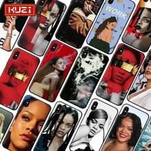 Kuzi Rihanna Anti Print Female Case For Iphone X XS 8 7 6 6s Plus Coque TPU Silicone Covers For Iphone 7 7 Plus Case iphone 7 plus case anti slippery устойчивый к царапинам противоударный легкий бампер для iphone 7 plus