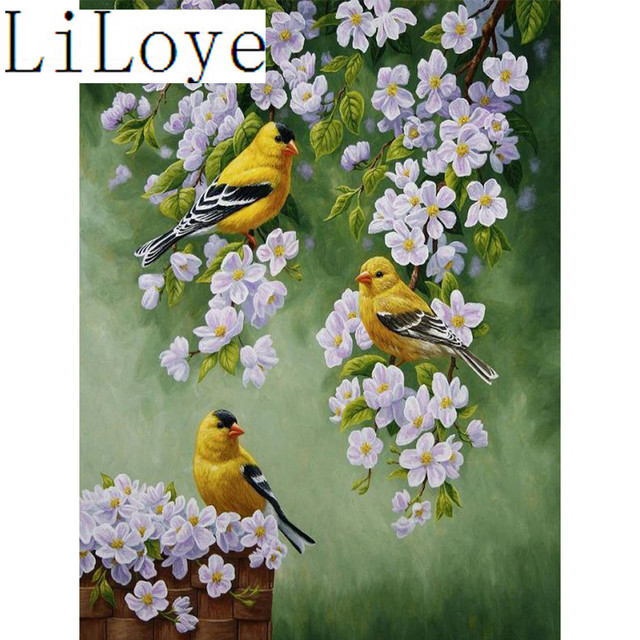 Li loye 5d diamond embroidery flowers birds diy diamond painting cross stitch rhinestones mosaic sticker decor