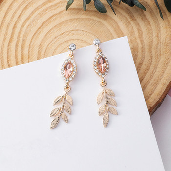 Crystal Leaf Drop Dangle Earrings