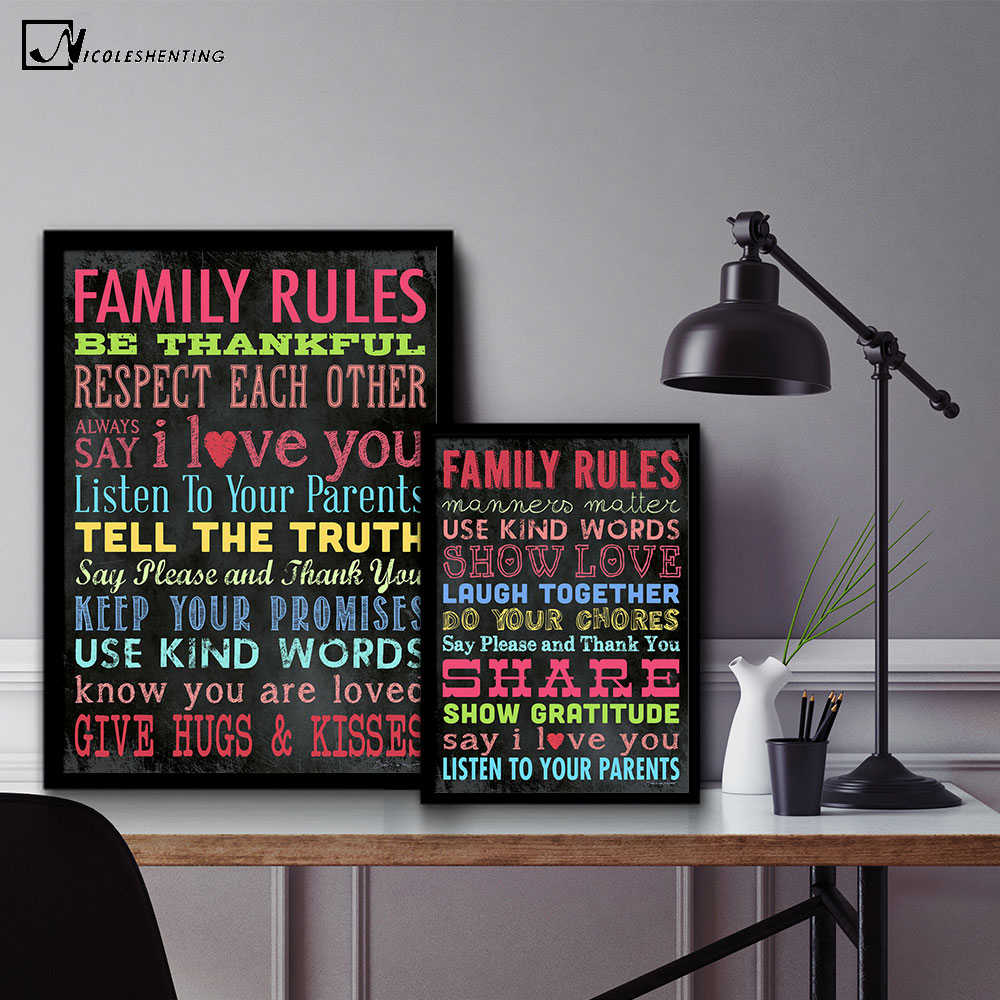 Modern Lighting Quotes Nicoleshenting Family Rules Motivational Quotes Vintage Art