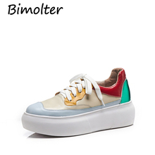 Bimolter Quality Genuine Leather Shoes Women Fashion Platform Flats Female Colorful Board Casual Footwear LFSB008