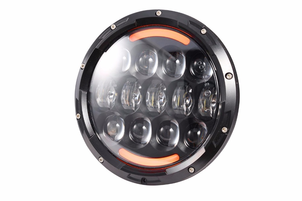 Hot Sale! 1pcs H4 High Low Beam 7inch LED Headlight 105W Motorcycle Headlamp with Amber/ Yellow Turn Signal Eye for harley Bike
