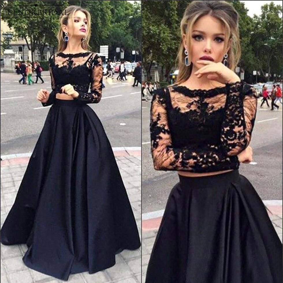 Us 10578 18 Offsexy Black 2 Piece Prom Dresses 2018 Vestido De Festa Formal Long Sleeve Evening Dress Lace Sheer Feestjurken In Prom Dresses From