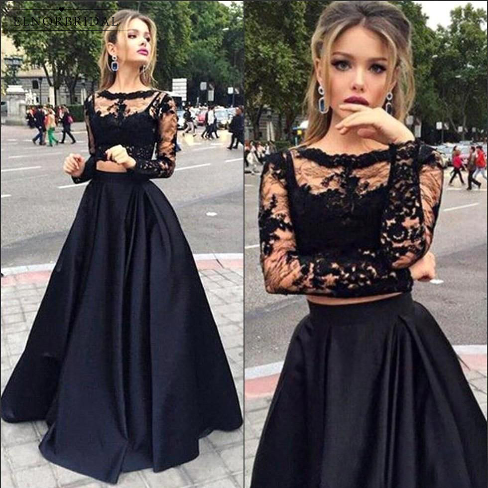 Sexy Black 2 Piece   Prom     Dresses   2018 Vestido De Festa Formal Long Sleeve Evening   Dress   Lace Sheer Feestjurken