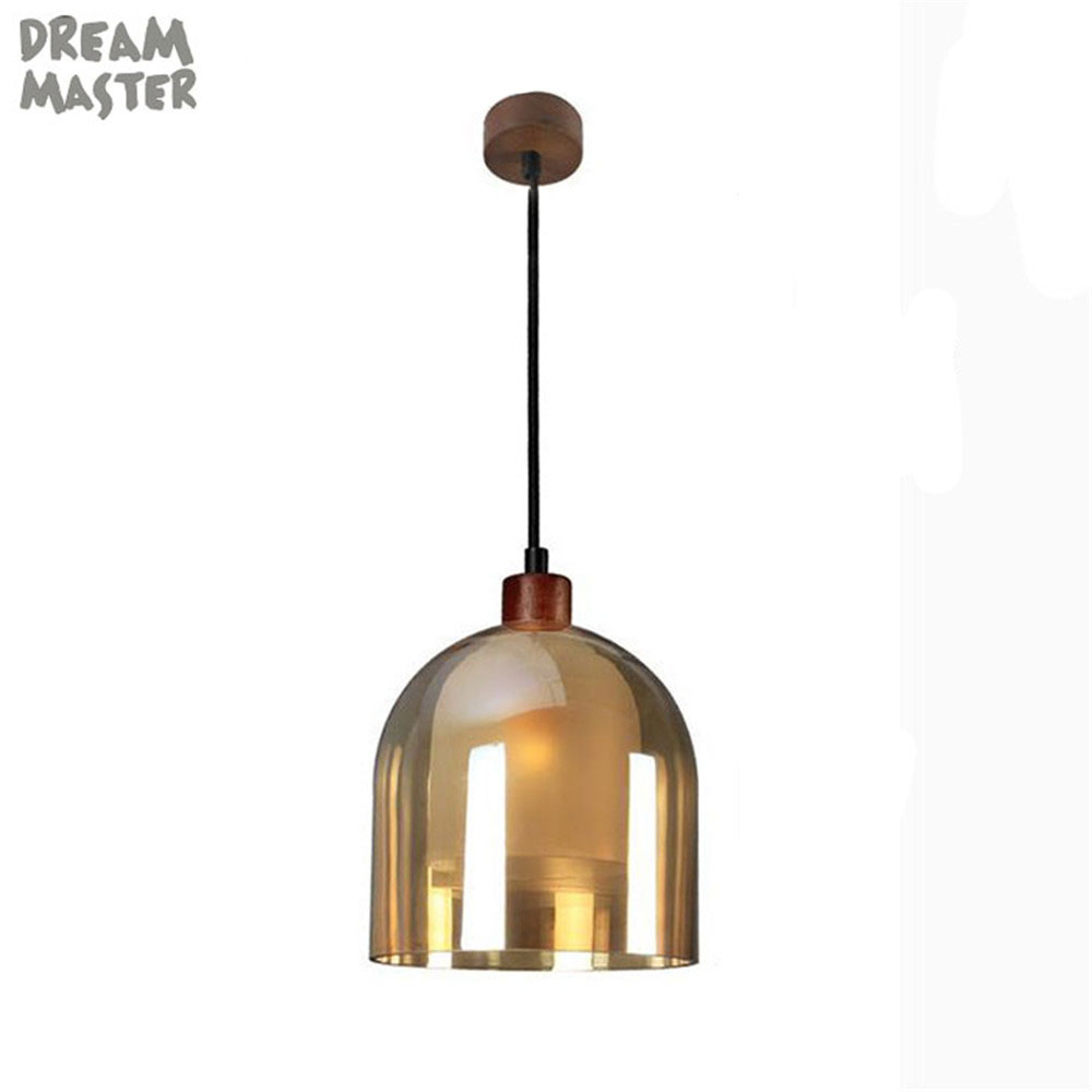 Indoor Wood Pendant Light Modern amber glass shade led Pendant Lamp Living Room Decor Lighting With LED Bulb E14 AC110-240V 220VIndoor Wood Pendant Light Modern amber glass shade led Pendant Lamp Living Room Decor Lighting With LED Bulb E14 AC110-240V 220V