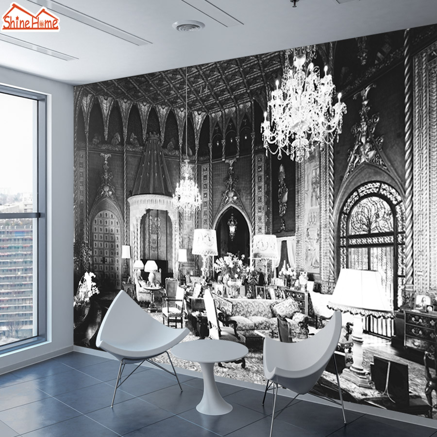 ShineHome-Customized Retro Wallpaper Black White Palace Building Wall Murals Paper Picture Wallpapers for 3d Living Room Bedroom shinehome retro coffee tea time cafe store brick wallpaper for 3d rooms walls wallpapers for 3 d living room wall paper murals