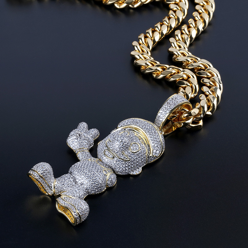 Hip Hop Bling Ice Out AAA CZ Stone Gold Color Cartoon character Mario Men Pendants Necklaces