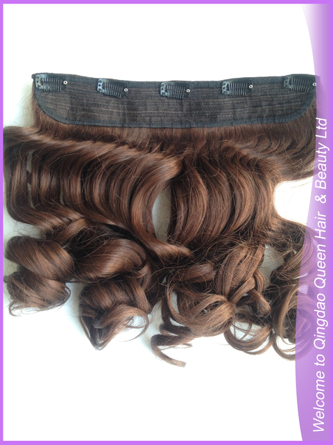 Free Shipping Qingdao Queen Hair One Piece Curly Hair Weft Clip In