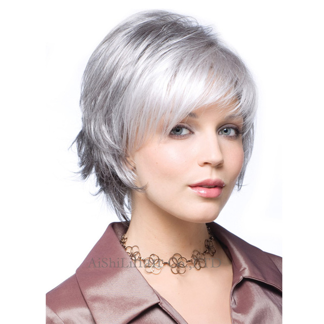 Silver Grey Wigs Short Straight wig Siver Natural Gray Color short wigs For  old Women Elderly 31cf7cf7b88c