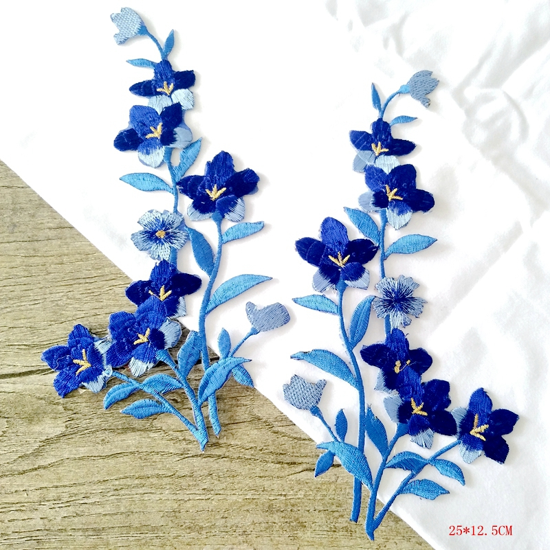 2 Blue Butterfly /& Flower Silver Stem  Embroidered Iron-On Fabric Appliques