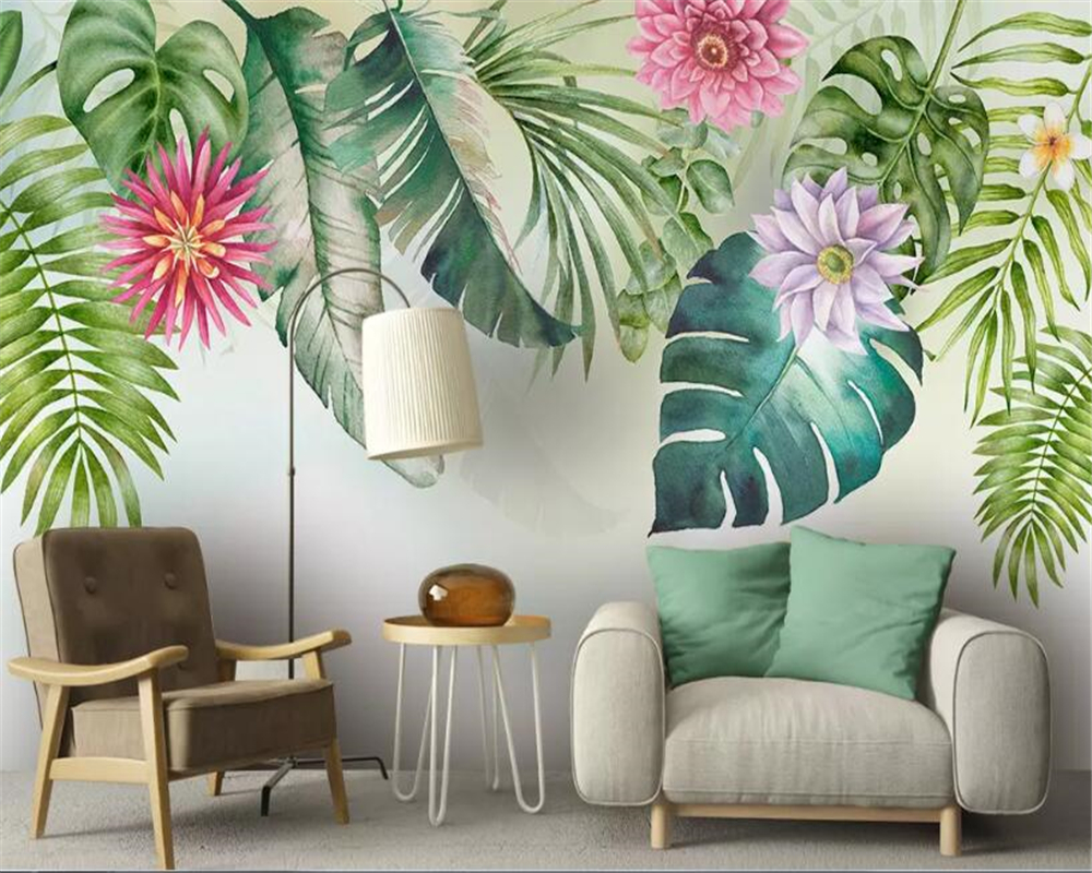 beibehang Modern wallpaper simple small fresh green leaves ...