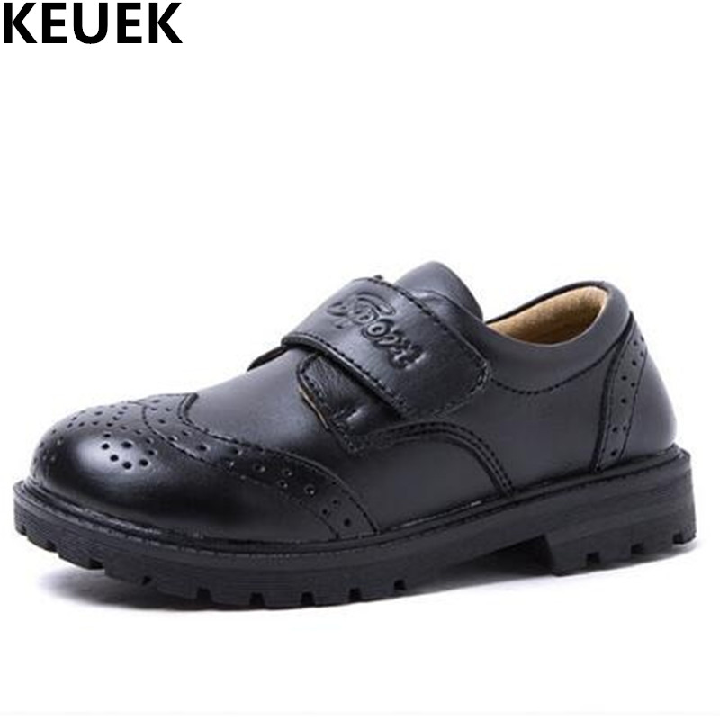 NEW British style School Student Dress Shoes Boys Genuine Leather Sports Flats Children Casual Black Shoes Kids Baby Toddler 019