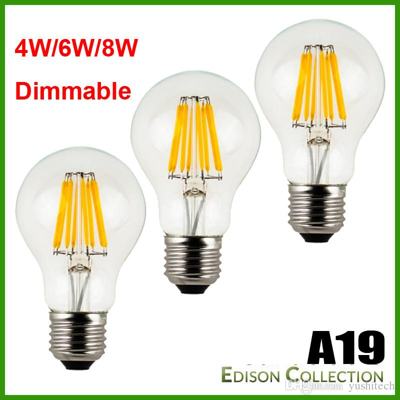 2200K CCT A19 LED Filament Bulb Replacement Edison Vintage light bulbs, E26 base. 120V, 230V Dimmable LED filament bulbs 360degr