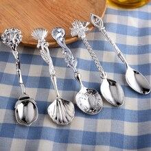 Vacclo Vintage Delicate Dessert 5pcs/set Spoon Set Cute Retro Handle Coffee Sugar Scoop Party Tableware Decor Gift
