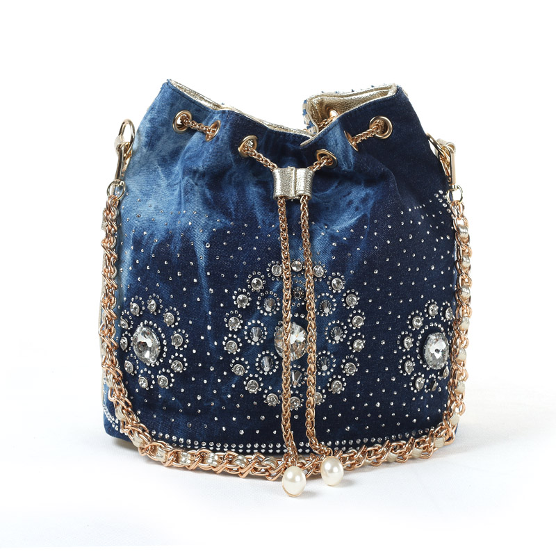 ФОТО Original 2014 Autumn and Winter The New Weave Denim Women HandBag Inlaid Stones Portable Personality Chain Bucket Women Bag
