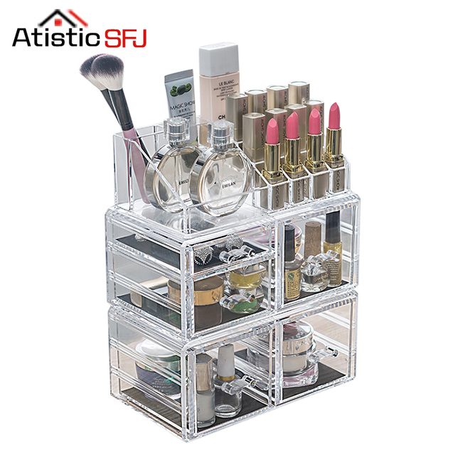 Genial Clear Acrylic Cosmetic Organizer Box Makeup Storage Drawer Desk Bathroom  Makeup Brush Lipstick Holder Desktop Storage