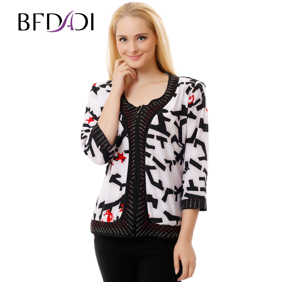 Bfdadi 2016 new women autumn t shirt 3 4 sleeve vintage for 3 4 sleeve t shirts plus size