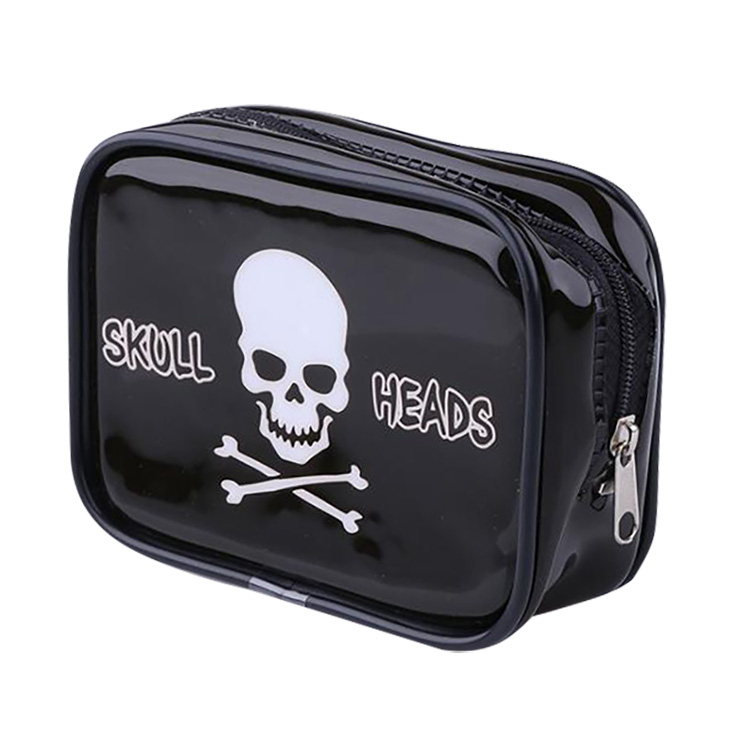 Custom Skull Heads Glossy Black PVC Vinyl Makeup Purse Toiletry Pouch Cosmetic Organizer Bags Available For Personalize