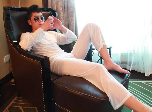 Sexy Men's translucent Pajamas Set