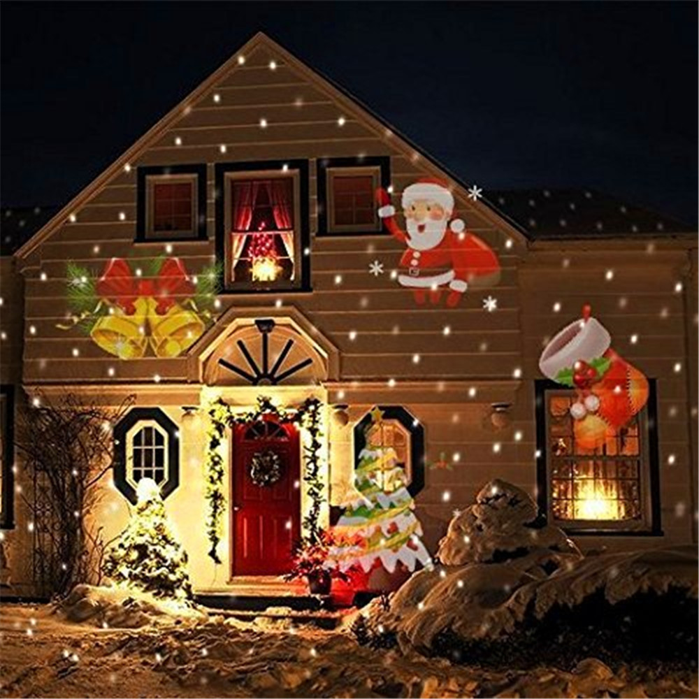1X 110V/220V Winter Halloween Christmas Led Projector Lamp 12 Patterns  Landscape Garden Lawn Outdoor Wall Lamp Holiday Lights
