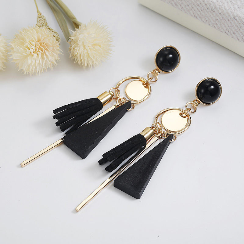 Personality Fashion triangle geometric wood earrings Retro female tassel long women earrings Jewelry 5