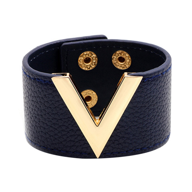 Leather Bracelet Men Women Jewelry Hand Chain Simple All Match Ol V Word Alloy Wide