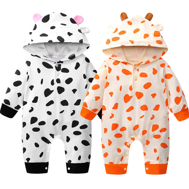 341e8d6966d1 Newborn Baby Boys Girl Rompers New Infant Baby Cow Printed Hooded ...