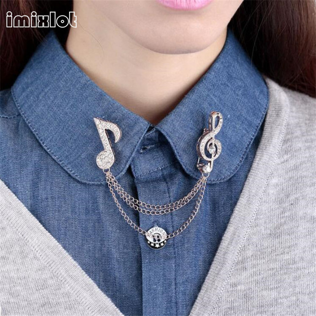 c9247160b2 2019 venta Broche broches Vintage cristal personalizado blusa camisa Collar  Broche Pin música nota cuello accesorios