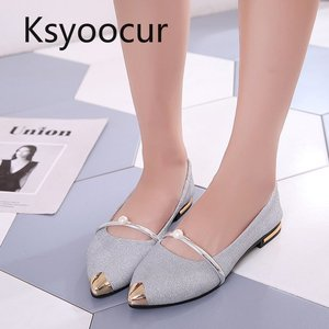 Image 3 - Brand Ksyoocur 2020 Spring New Ladies Flat Shoes Casual Women Shoes Comfortable Pointed Toe Flat Shoes 18 012