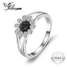 Jewelrypalace цветок 1.11 CT натуральный черной шпинели кольцо стерлингового серебра 925 кольцо для Для женщин бренд драгоценный камень Красивые ювелирные изделия