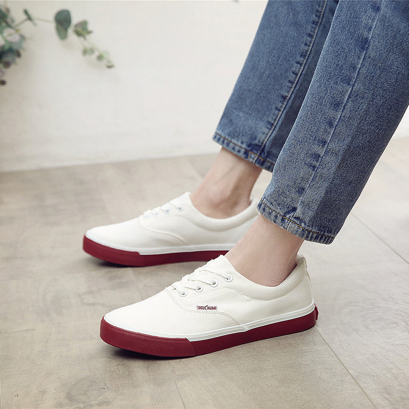 Blanc Casual White Chaussures Léger Up Hommes Tenis Homme Red Masculino Marque De Talon 2019 Mode Blue Classique Appartements Espadrilles Lace Plat Toile white Aw7cHInyUq