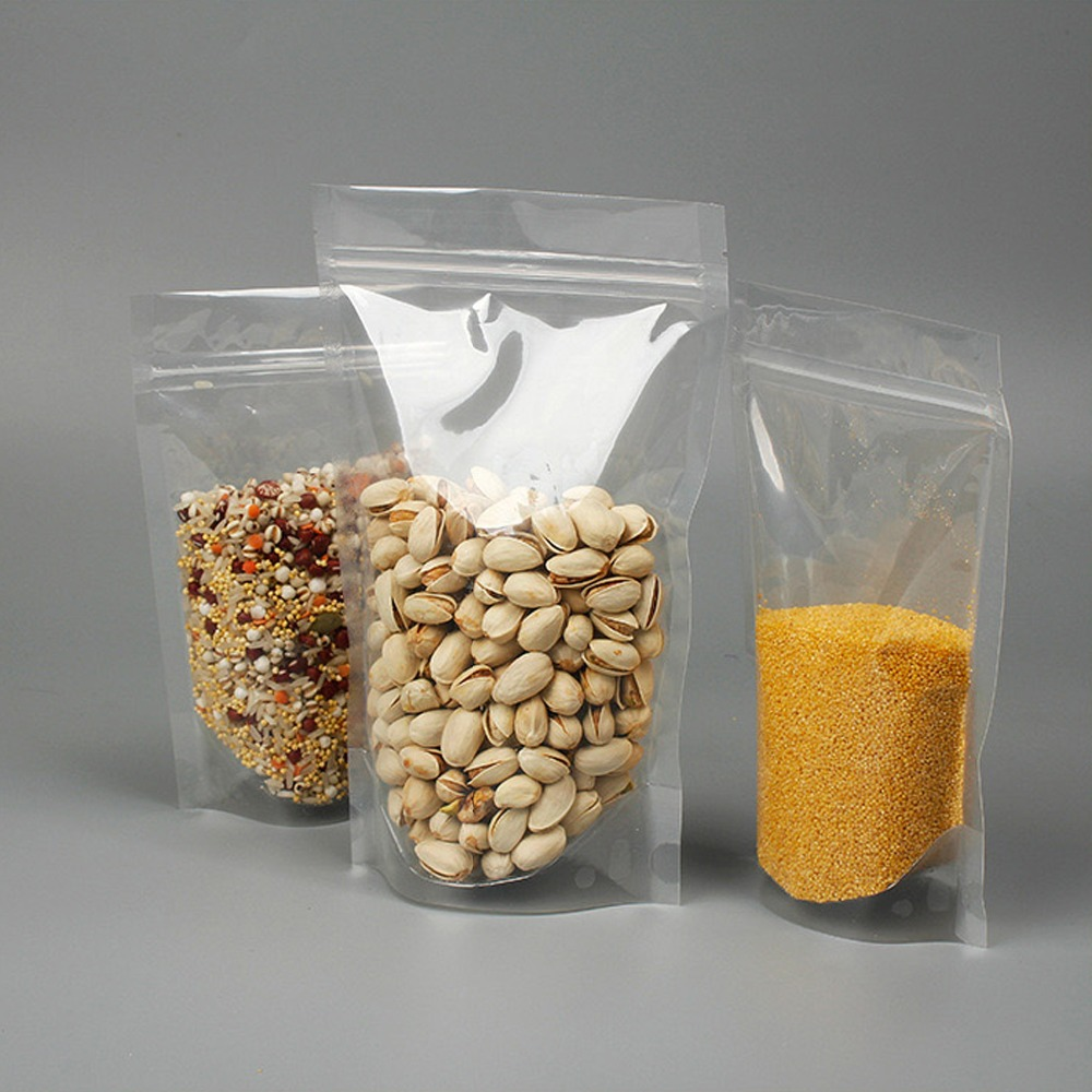 100 Pcs Full Transparent Stand Up Zip Lock Pouches,Full Clear Stand Up Zip Lock Bags,Food Storage Bags,From Width 9cm To 18 Cm