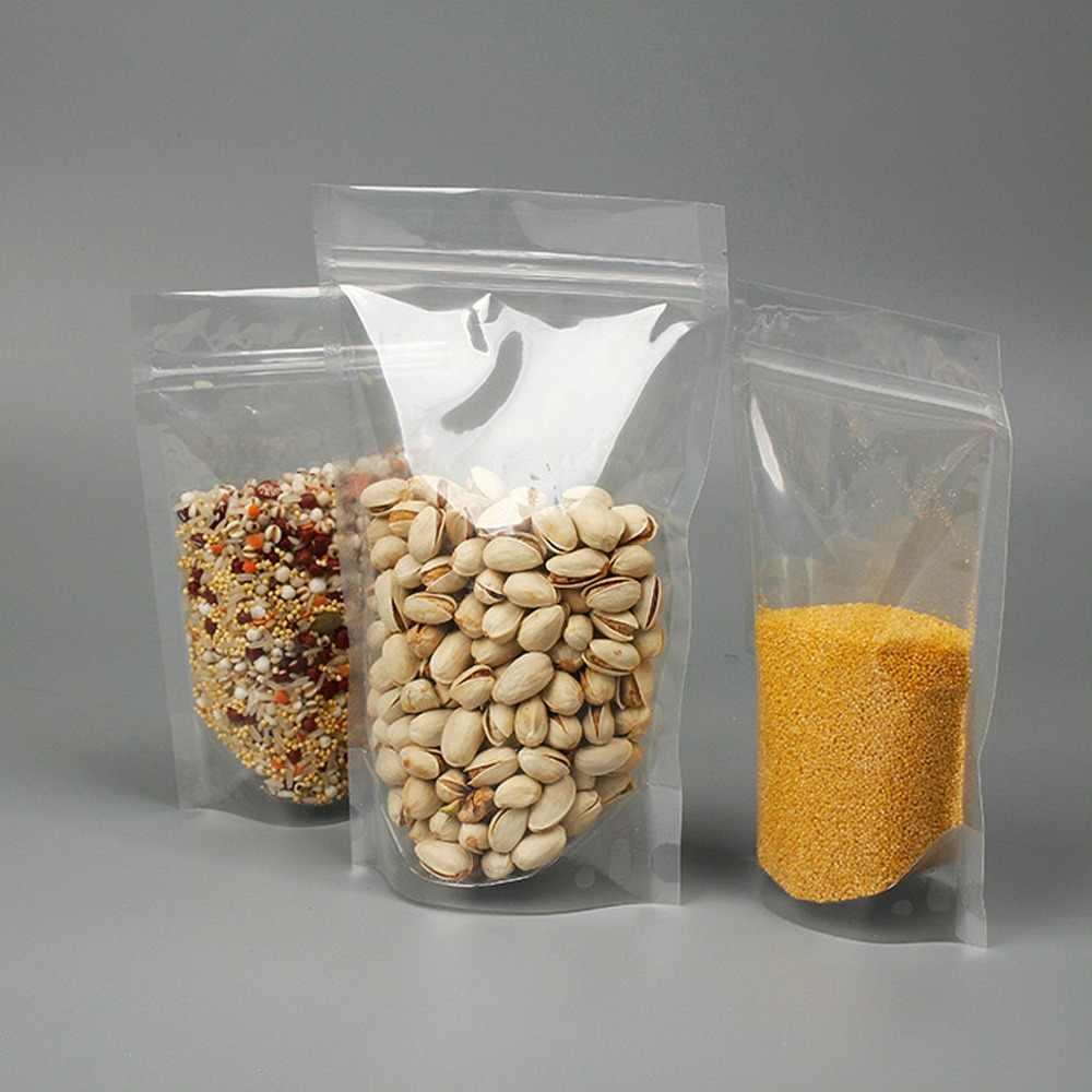 100 Uds totalmente transparente bolsas con cierre Zip, bolsas con cierre vertical completamente transparentes, bolsas con cierre, bolsas de almacenamiento de alimentos, de 9cm a 18 cm de ancho
