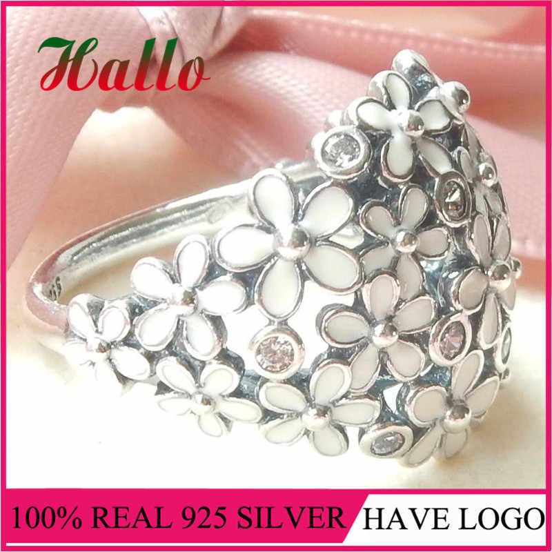 2017 Women Darling Daisy Bouquet Rings Genuine 925 Silver Fashion Jewelry for Women. Ring For Girls'Jewlery La mujer Anillo R
