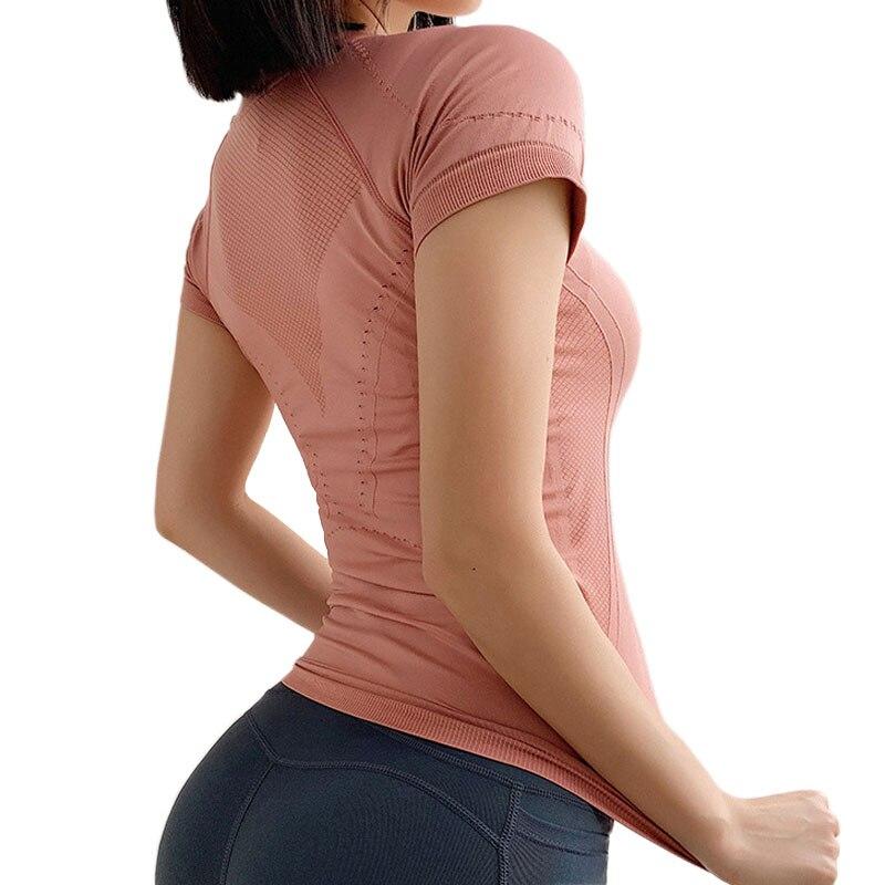 <+>  Женская летняя беговая быстросохнущая футболка с коротким рукавом для фитнеса Профессиональная йога  ①