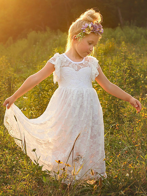 New Boho White Lace Flower Girl Dress A Line O Neck Girls First Communion Dress Pageant Gown Any Size