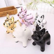 European Ceramic Crafts Bulldog Piggy Bank Home Decor Cute Piggy Bank Ornaments Creative Bulldog Money Box