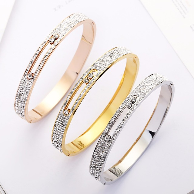 393306d5bf1 2018 Rose Gold Color Hollow Crystal Stainless Steel Love Men Women Slide  Zircon Carter Bangle Cuff