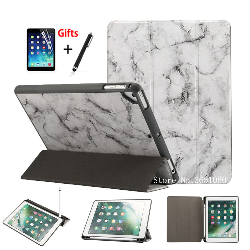 Marble Pattern Case For iPad 9.7 inch 2018 2017 Cover With Pencil Holder For iPad Air 1 2 Pro 9.7 Stand Funda Shell +Stylus+film new 2017 luxury crocodile pattern leather cover case for ipad pro 10 5 inch tablet stylus film